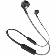 JBL T205BT by Harman Pure Bass Wireless Metal Earbud Headphones with Mic (Black)